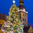 Christmas tree near Riga Cathedral — Stock Photo