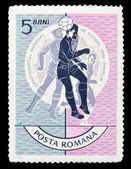 Romanian stamp, footbal championship — Stock Photo