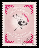 Mongolian stamp, wrestling world championship in toledo — Stock Photo