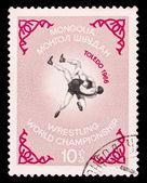 Mongolian stamp, wrestling world championship in toledo — Stockfoto