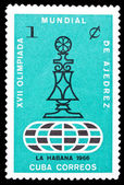 Cuba stamp, chess olympics — Stock Photo