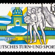 Stock Photo: GDR stamp, nations battle monument in Leipzig