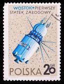 Poland stamp, first manned spaceship — ストック写真