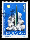 Poland stamp, start of USSR spaceship — Stock Photo