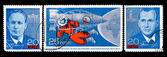 GDR stamp, visit of russian cosmonauts to Eastern Germany — Stockfoto