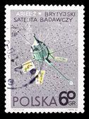 Poland stamp, great Britain setellite Ariel-2 — Foto de Stock