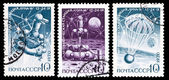 "USSR stamp, automatic moon station ""Luna 16"" research program — 图库照片"