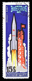 Mongolia stamp, start of spaceship — Stock Photo