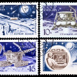 Stock Photo: USSR stamps, Automatic station and moon rover