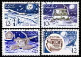 USSR stamps, Automatic station and moon rover — Stok fotoğraf