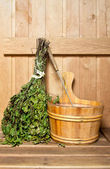 Sauna broom and bucket — Stock Photo