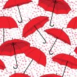 Romantic pattern with umbrellas and rain of hearts — Imagen vectorial