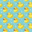 Pattern with yellow ducks - Stock Vector