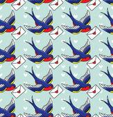 Aves con letras — Vector de stock