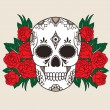 Skull with red roses — Stock Vector #21705269