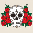 Stock Vector: Skull with red roses