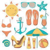 Items related to the beach activities — Stock Vector