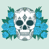 Skull with blue roses — Stock Vector