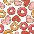 Pattern with donuts and cookies — Stock Vector