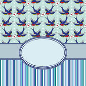 Vintage frame with birds — Vecteur
