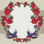 Marco con las rosas y aves — Vector de stock