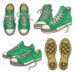 Set with green sneakers — Stock Vector