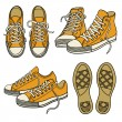 Set with yellow sneakers — Stock Vector