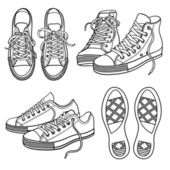 Set with sneakers — Stock Vector