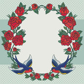 Old school frame with roses and birds — Stock Vector