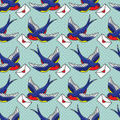 Old school pattern with birds and letters — Vettoriale Stock
