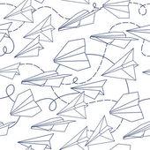 Papír letadla bezešvých textur — Stock vektor