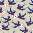 Old school pattern with birds and letters — Imagen vectorial