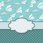 Vintage frame with paper planes — Stock Vector