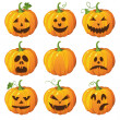 Halloween set with pumpkins — Stockvektor