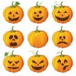 Halloween set with pumpkins — Imagen vectorial