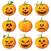 Halloween set with pumpkins — Vecteur