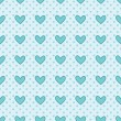 Blue pattern with hearts — Vector de stock #34216665