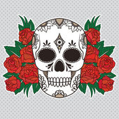 Skull with red roses — Stock Vector