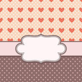 Retro vector frame with hearts — Wektor stockowy