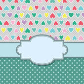 Vintage vector frame with hearts — ストックベクタ
