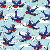 Pattern with birds and letters — Stockvector
