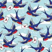 Vzorek ptáků a dopisy — Stock vektor