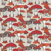Seamless  mushrooms pattern — Stock Vector