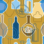 Seamless pattern with wine bottles — Stock Vector
