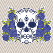 Blue skull with roses — Stock Vector