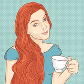 Girl with cup of coffee or tea — 图库矢量图片