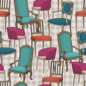 Pattern with armchairs — Stock Vector