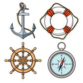 Set with isolated anchor, lifebuoy, ship's wheel, compass — Stock Vector