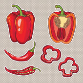Peppers set — Stock Vector
