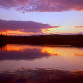 Sunset on Siskiwit Lake ~ Isle Royale National Park — Stock Photo